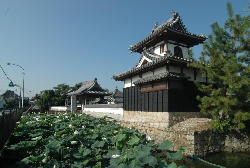 (写真)鼓楼とお堀、蓮の名所としても大変有名。7月初旬から8月いっぱい、見頃を迎えます。