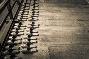 Neat Rows of Buddhist Monk Slippers, Kyoto, Japan